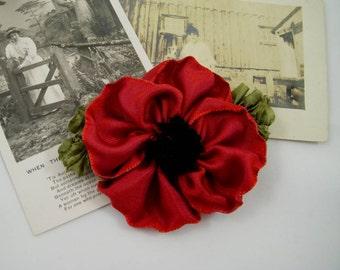Red Poppy Ribbon Flower Pin Brooch – Vintage Style Ribbon Flower – Wedding Prom Holidays