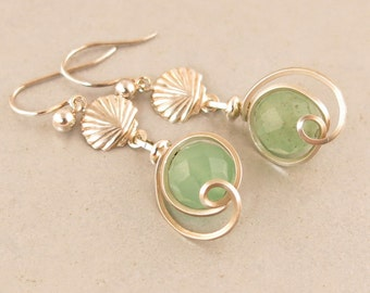 Green Aventurine Sterling Silver Shell Drop Earrings, Light Green Stone Wire Wrapped Small Dangle Beach Ocean Earrings