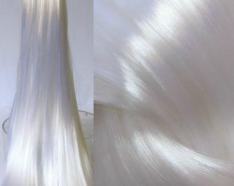 BRIGHT ICEBERG White High Sheen Nylon Doll Hair for Custom OOAK/Rerooting
