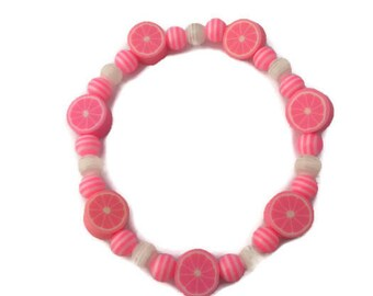Polymer Clay Bracelet - Fruit Bead Bracelet - Polymer Clay Beads - Fruit Beads - Resin Beads - Pink Bracelet - Pink Jewelry - Pink and White