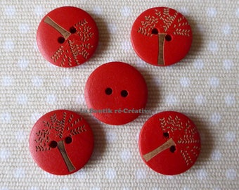 5 buttons red pattern wood tree 20mm round