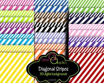 Diagonal Stripe Paper Digital Paper Striped Paper Background Paper Printable Paper Instant Download