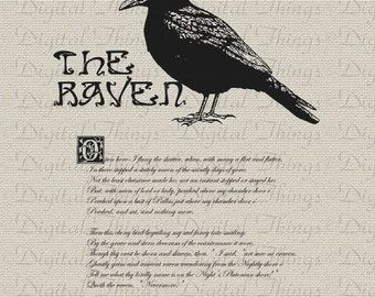 Halloween Edgar Allan Poe The Raven Bird Poem Wall Decor Art Printable Digital Download for Iron on Transfer Fabric Pillows Tea Towels DT247