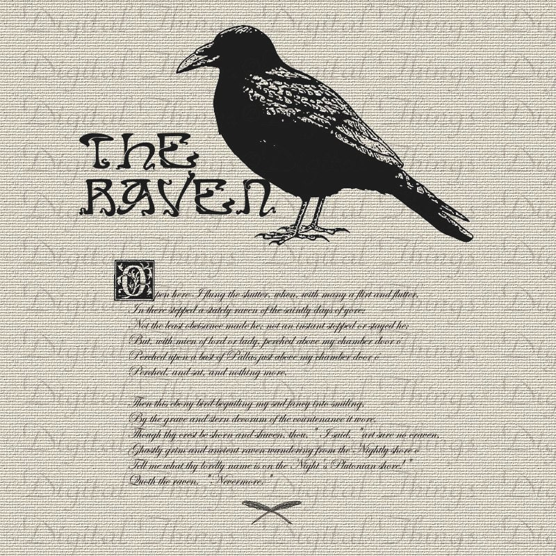 Fabuleux Halloween Edgar Allan Poe The Raven Bird Poem Wall Decor Art AB03