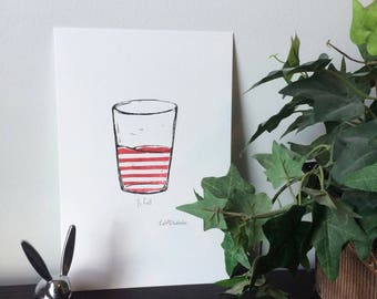 Half Full 01 // Minimalist Wall Art, Hand-pulled Linocut Print, Red Stripes