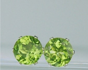 MothersDaySale Peridot Stud Earrings 7mm Round 2.80ctw Sterling Silver Natural Untreated