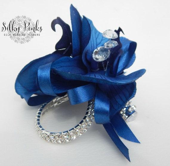 navy blue wrist corsage blue silk corsage sparkling wrist