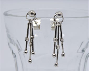 Sterling silver trio stick dot earrings on posts
