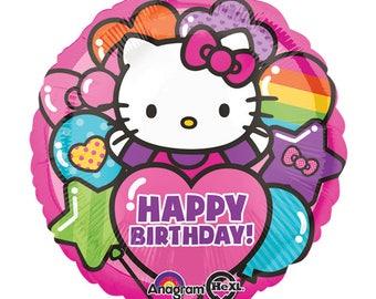 """Hello Kitty """"Happy Birthday"""" Helium Mylar 18"""" Balloon - Hello Kitty Party, Hello Kitty Birthday Party, Celebration, Girls Birthday, Pink"""