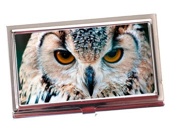 Owl Business Card Case - Owl Business Card Holder - Silver Business Card Case for Purse