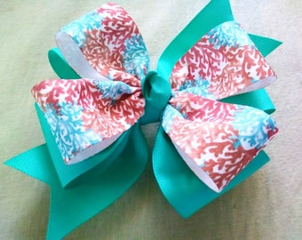 Girls Boutique Hairbow, Easter Hairbow, Teal Hair Bow, Pinwheel Bow