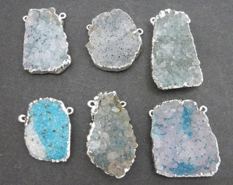 Freeform Teal Druzy Double Bail Pendant with Electroplated Silver Edge Medium DDZ - (S100B19-04)