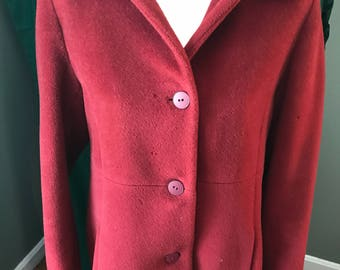 Vintage Albert Nipon Red Wool Coat Sz 6