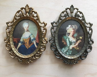 Vintage Italian cameo pictures set of 2 in brass frames