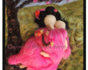 """Printed Note Card - """"Baby and Mommy Love Tokyo"""" -image from wool painting  Waldorf Inspired printed greeting card"""