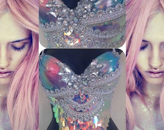 Sunset Scales Mermaid Bra- rave bra, halloween, costume, edm, festival, seashell, siren, edc, pastel, sequins, bling, rhinestones