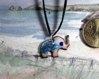 Elephant pendant , Murano millefiori glass on different colors  of  enamel base on copper  Choose your color with no extra waiting time