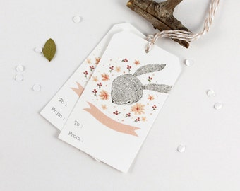 30% OFF - 10 Gift Tags - Rabbit