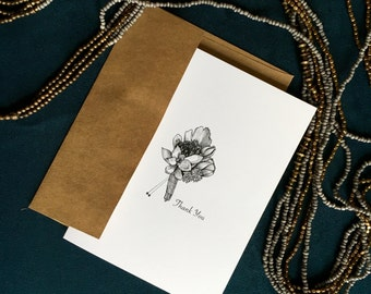 Wedding Boutonniere Thank You Card