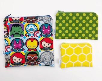 Reusable snack bag sets baggies eco friendly lunch bags toy bags storage avengers superhero ironman thor wonderwoman