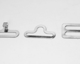 Lot of 500 SILVER metal BOW TIE hardware sets (3 pcs per set = 1500 pieces total) eye + hook + slide - 3/4""