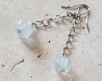 Natural Aquamarine and Silver Chain Dangle Earrings, Genuine Stone Earrings, March Birthstone, Healing Crystals, Light Blue Aqua Gemstone
