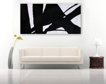 Large Geometric Art Canvas Painting, Horizontal Canvas Art, Black and white Minimalist Modern Art