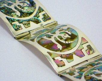 Vintage Mexican Abalone Silver  Bracelet, Jewelry