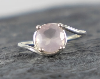 Rose Quartz Engagement Ring, Rose Quartz Ring, Love Gemstone Ring, Sterling Silver Ring Romantic Gift For Girlfriend - MADE TO ORDER