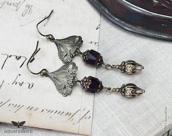 Long Art Nouveau Style Earrings, Bronze and Purple Earring, Aubergine, Egg Plant, Plum Ear Rings, Botanical Floral Jewellery, Handmade UK