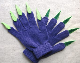 Gloves with claws, purple and green, for Halloween costume or pretend play, one size stretch glove