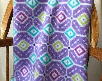 Purple Geometric Blanket, Fleece with Crochet Edge