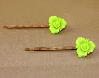 Lime Green Flower Bobby Pins - Acrylic Floral Cabochon Hair Pins