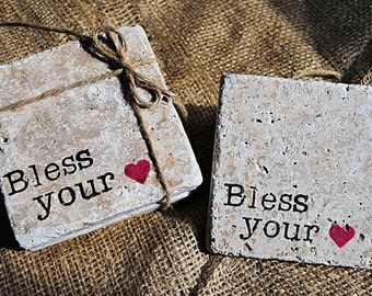 Bless Your Heart Coaster, White Elephant Gift, Stone Coasters, Christmas Gift, Set of 4 Coasters, Absorbent Coasters, Quotes Coasters