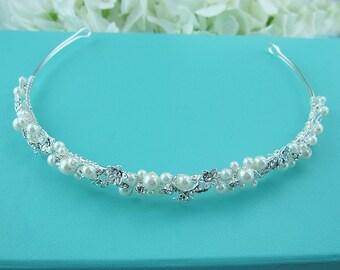 Crystal Wedding Headband, Bridal tiara headpiece, wedding headpiece,  crystal tiara, ivory wedding headband, Alondra Pearl Headband