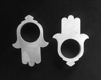 Hamsa Tunnels Silver - Flesh Tunnels - Tunnels - Gauged Body Jewelry - Plugs - Body Piercing Jewelry