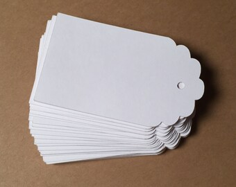 Die Cut, Hang Tags, White Blank Tags, Boutique Tag, Gift Tag, Retail Tag, 110 lb Card Stock CP-1006