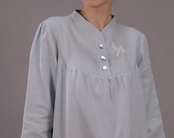 Linen Long Night Gown/ Linen Sleepwear with Handembroidered Dragonfly/Flax Robe with Neck-Stand and 3/4 Sleeves/Linen Night Dress/