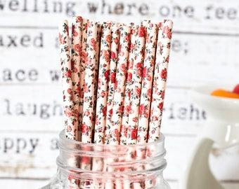 Pastel Yellow with Rose Paper Straws, Beautiful Straws  Wedding or Birthday Celebration, Heart Straw, Yellow , Paper Straws, Wedding Straws
