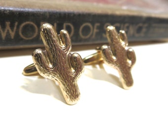 Raw Brass Cactus Cuff Links - Wedding Cufflinks Soldered - Desert Arizona New Mexico Tribal South West Texas Gold Southwest