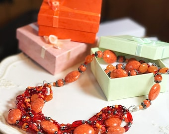Handmade Orange and Red Beaded Necklace