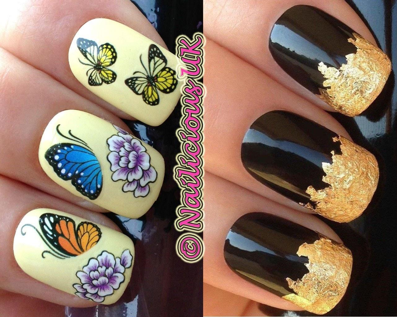nail art set 229. pretty flowers and butterflies water
