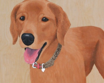 Custom Pet Portrait, Wood Panel, Personalized Memorial Dog, For Him Her Birthday Gift Idea Husband Wife Dad Mom Parent Christmas Holiday