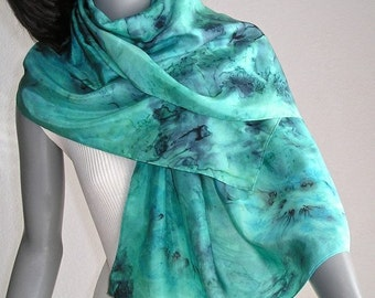Lucite Green Scarf, Hand Painted Silk, Mint Aqua Wrap, Hand Dyed Scarf, Sea Glass Scarf, Classic Blue Aqua, Handmade by Artist Jossiani