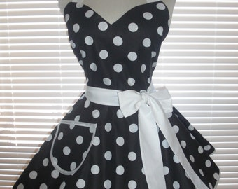 1950s Retro Apron Black with Large White Polka Dots Circular Flirty Skirt