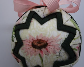 Quilted Fabric Ornament Spring Pink Flower Garden