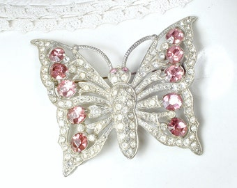 Antique Schrager Pink Bridal Hair Comb OR Sash Brooch, 1930s Art Deco Pink Rhinestone LARGE Butterfly Wedding Headpiece Silver Pave Crystal