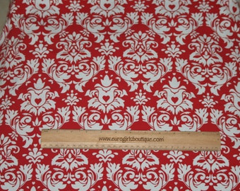 Red damask 1 yard cotton lycra knit