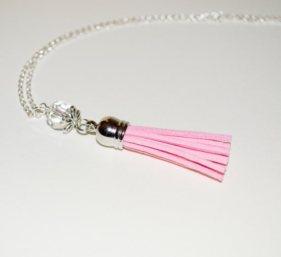 Baby Pink Tassel Necklace, Festival Jewelry, Long Boho Necklace, Boho Fringe Jewelry, Layering Necklace, Tassel Pendant, Pale Pink Necklace