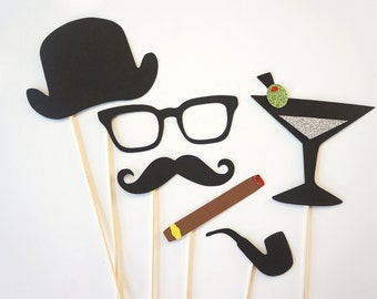 Photo Booth Props - Gentlemen Collection - Set of 6 Photobooth Props with GLITTER, includes pipe